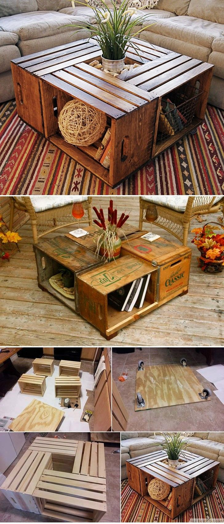 Antique wine crate or wood box coffee table diy http for Cool coffee tables diy
