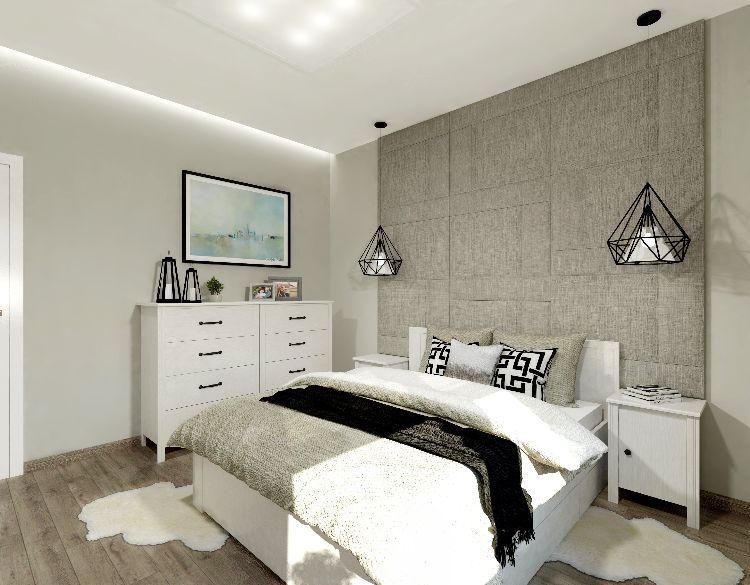 polsterwand im schlafzimmer wandpaneel bett rückenpolster wand