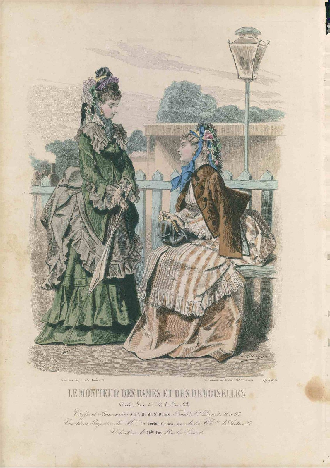 Victorian fashion plate from 1871. Lovely bustle day dresses, hats and parasols!
