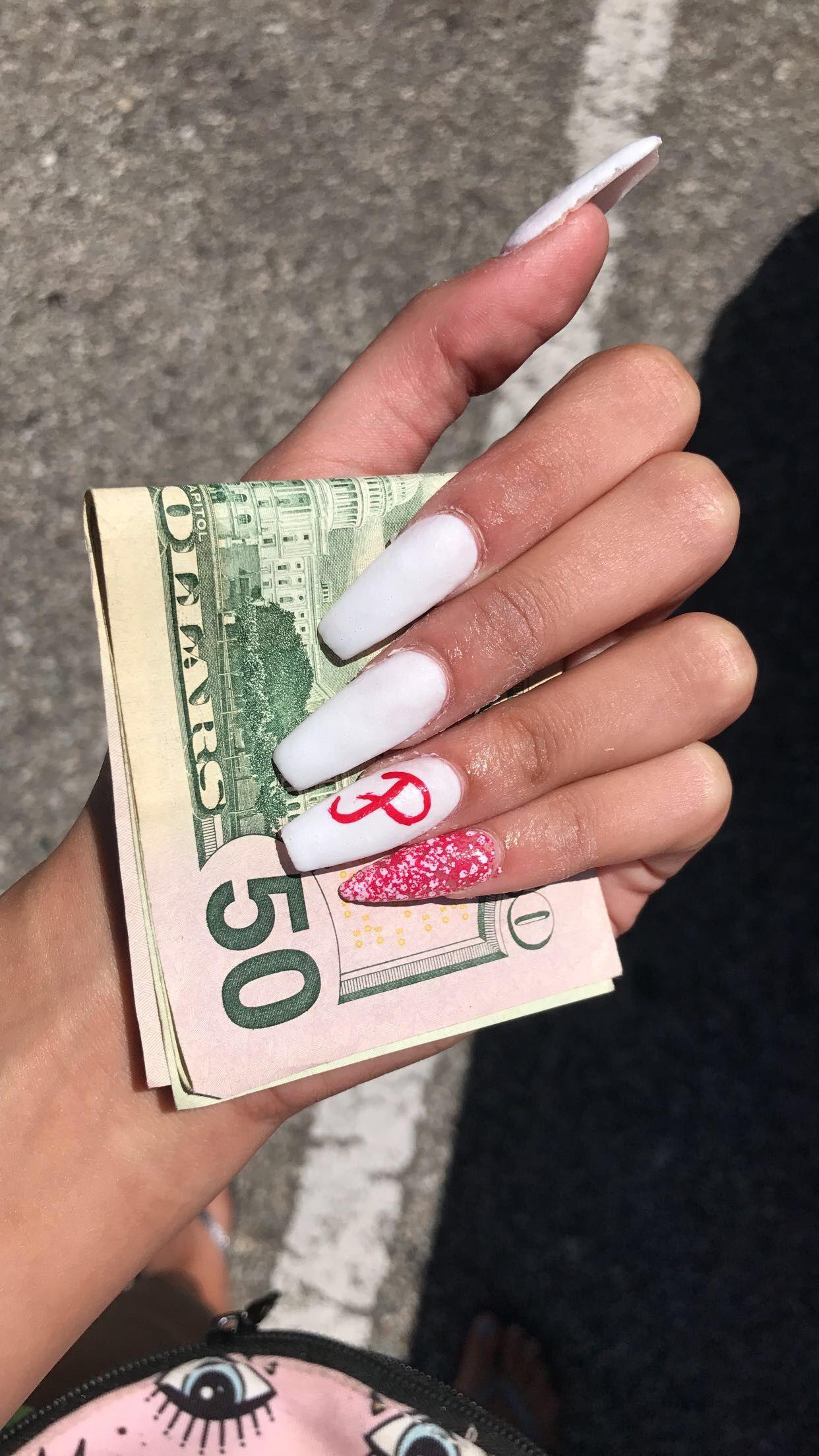 Boyfriends Initials Coffin White Red Nails Stiletto Neutral Nails Gel Nails Boyfriend Initials