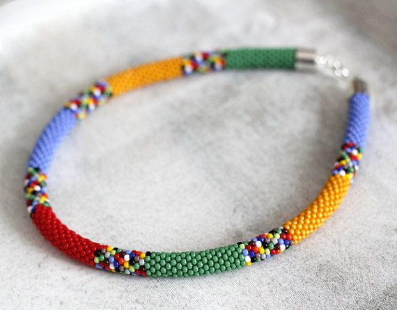 Colorful African Necklace, Rainbow Necklace, Multicolor Beadwork ...