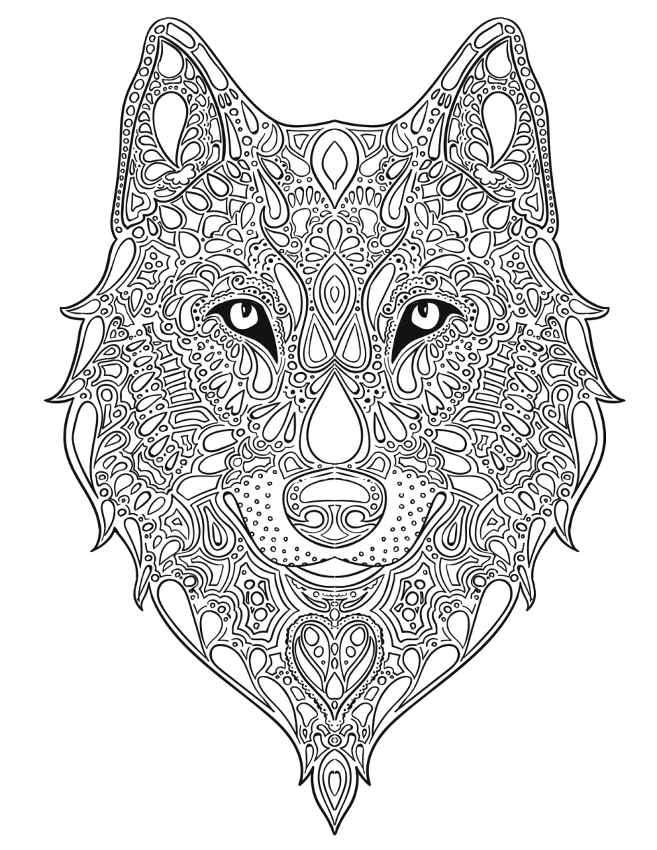 christmas wolf coloring pages | wolf design - Pesquisa Google | doodles | Coloriage ...