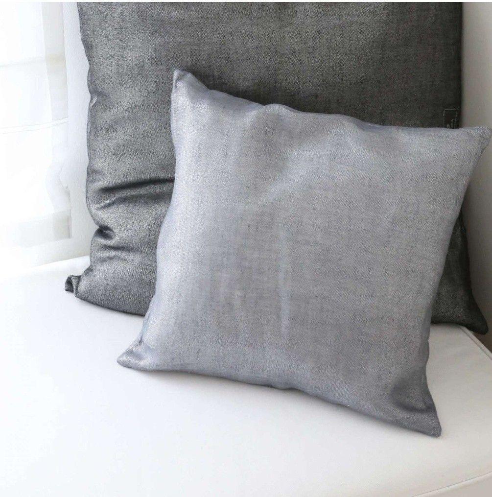 Metallic Grau Schimmernde Leinenkissen Kissen Kissenhuelle