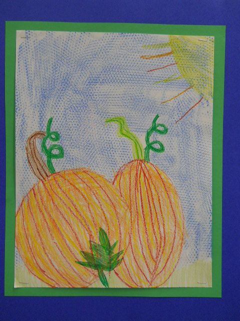 Pumpkin still life drawn by one of my 1st Graders.