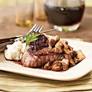 Delicious filet mignon with cabernet sauce!  The sauce is thin but tasty!