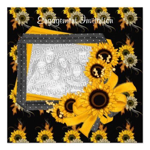 Invitation Engagement Photo Sunflower Frame Invites