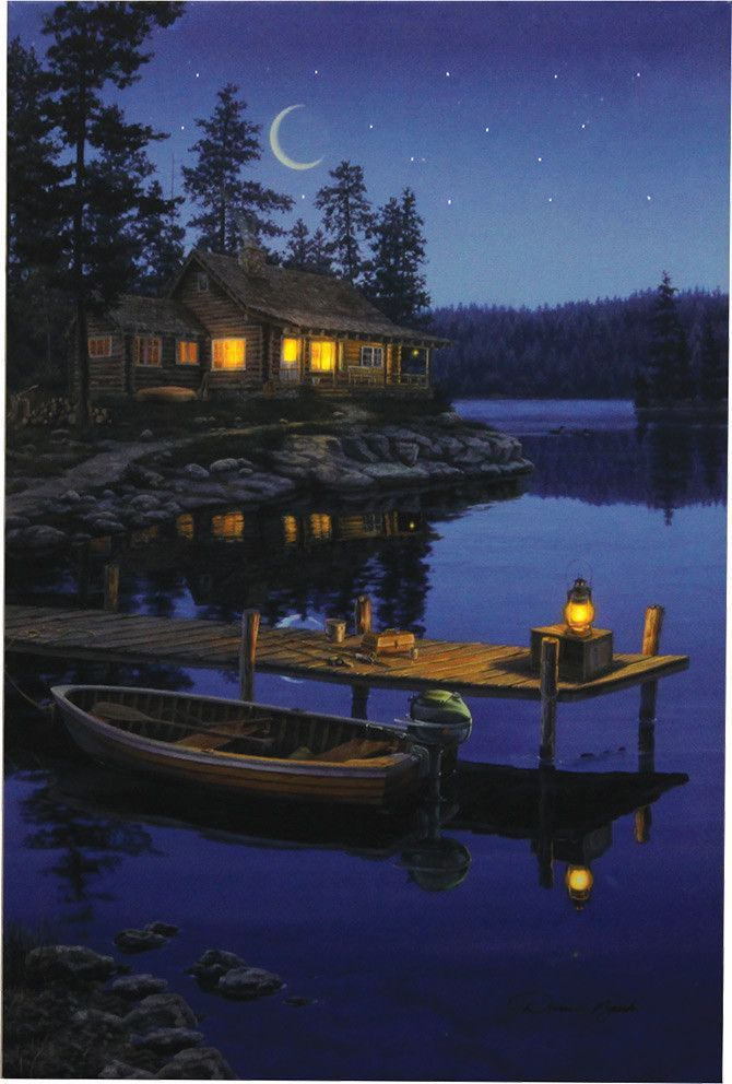 Cabin wall art with LED lights that light up the stars, cabin, and ...