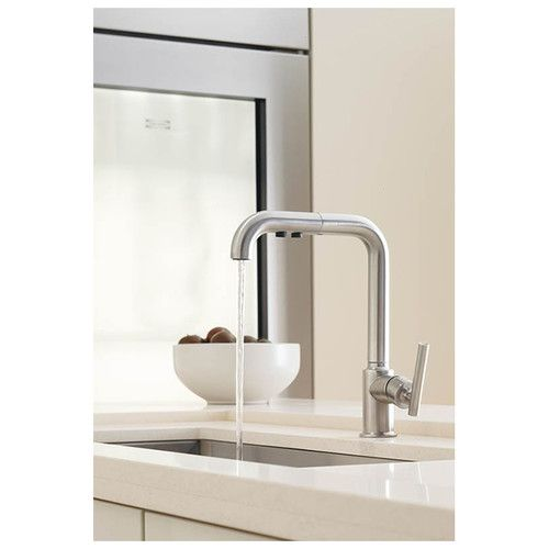 Purist Single Hole Kitchen Sink Faucet With 8 Pullout Spout With Promotion Modern Kitchen Faucet Modern Faucet Kitchen Faucet