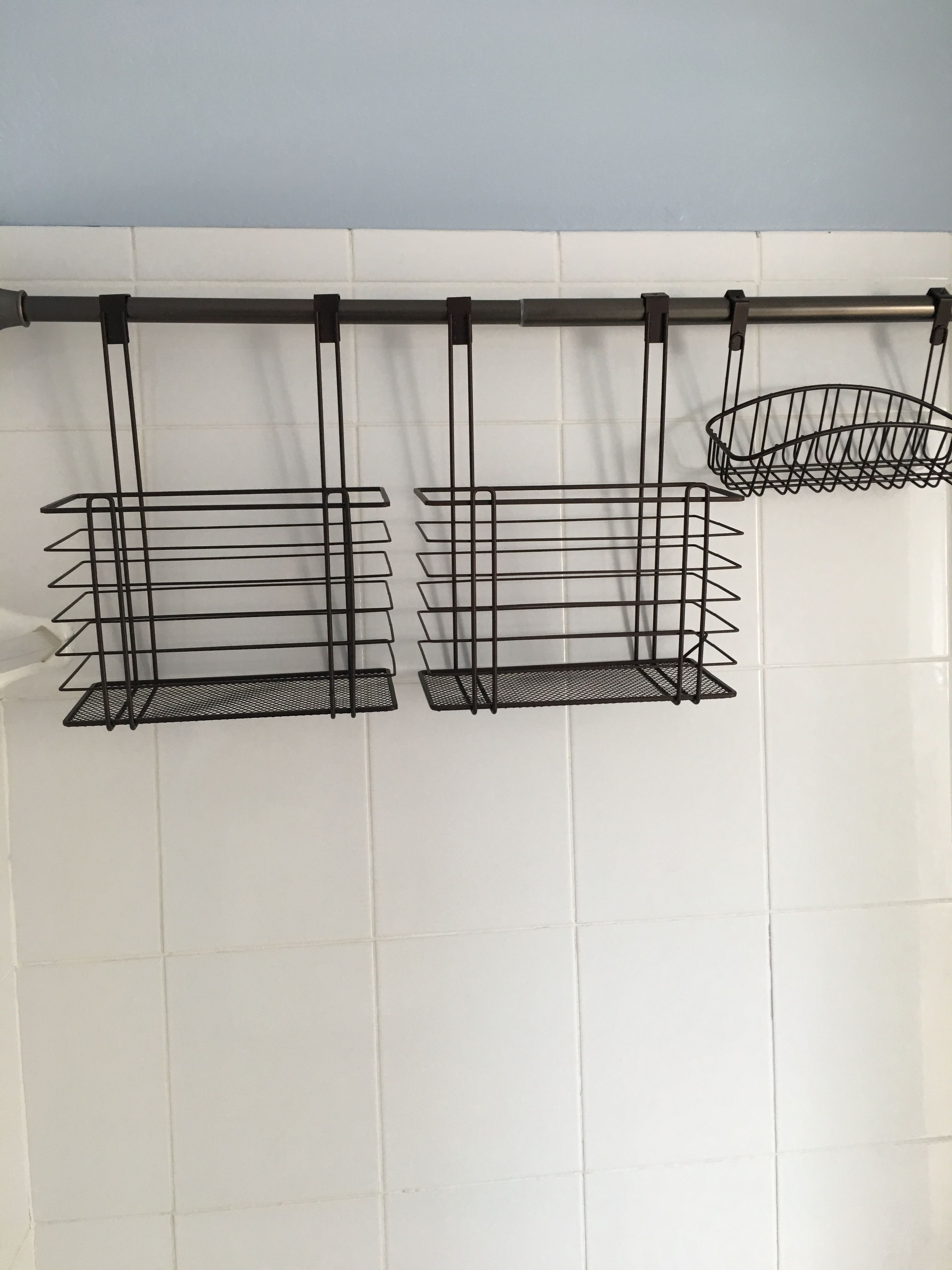 Horizontal Diy Tension Shower Caddy With Images Shower Storage