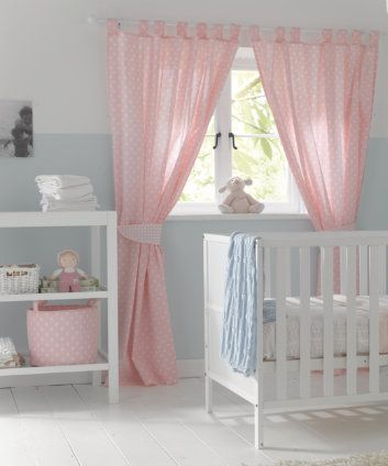 Mothercare Tab Top Curtains With Tie Backs Pink Erflies