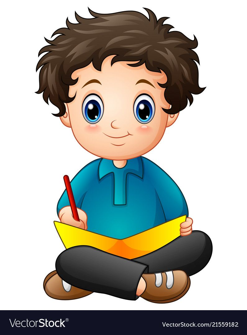 Little Boy Cartoon Writing A Book Vector Image On Vectorstock Cartoon Kids Clipart School Cartoon