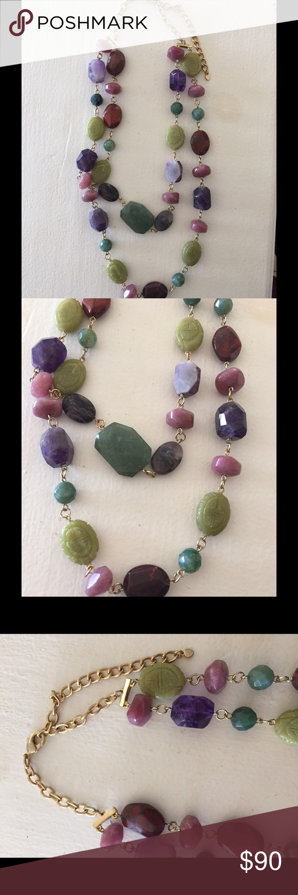 NEW + RARE Anthropologie stone layered necklace BRAND NEW! Never worn, in perfect shape. This is a RARE and valuable necklace from Anthropologie. I am willing to accept offers but they need to be reasonable. RETAIL was $188 Anthropologie Jewelry Necklaces