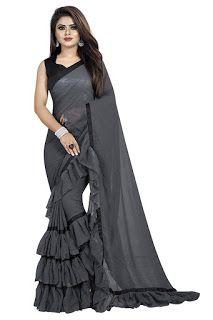 Women/'s Georgette Ruffle Saree//sari blouse,Indian Women Fashion Saree//Sari,Dress