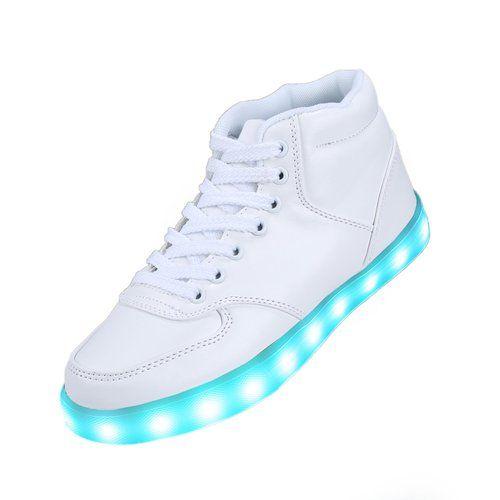 SAGUARO(TM) 7 Farbe USB Aufladen LED Leuchtend Sport Schuhe Sportschuhe  Sneaker Turnschuhe für