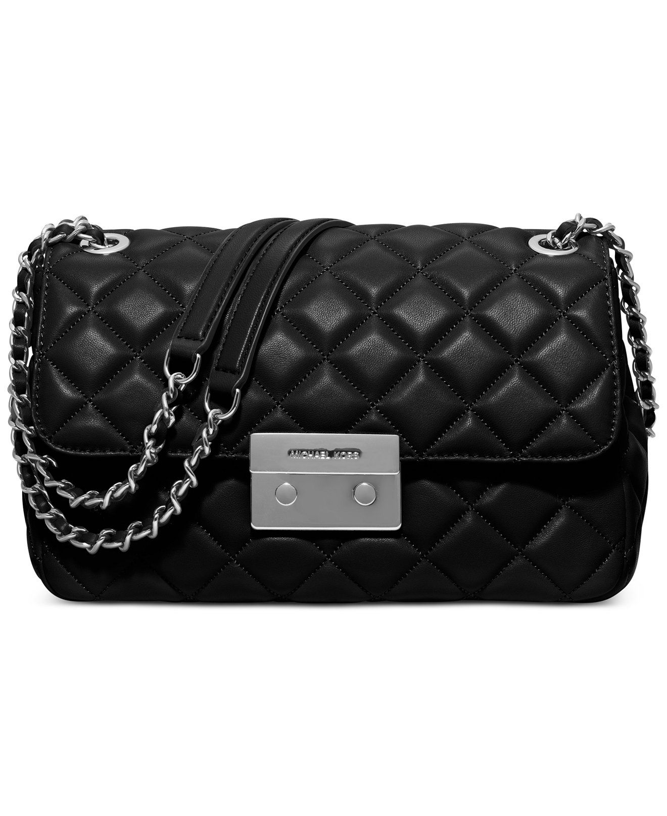 Michael Kors Sloan Large Quilted Shoulder Flap Black Costa Lamb Leather Handbag Chain Strap Designer Fashion