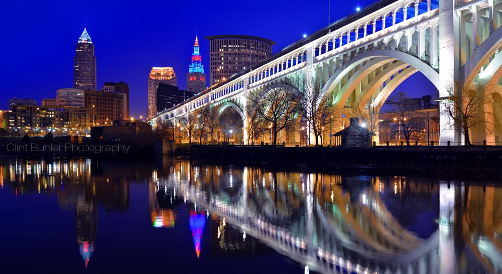 Cleveland Panorama During The Indian S Home Opener The Terminal Tower Is Lit In Support Of The Indians Ohio Skyline Terminal Tower Photographic Artist