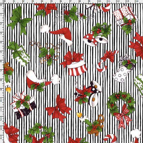 Christmas Crowd Black Fabric Yard