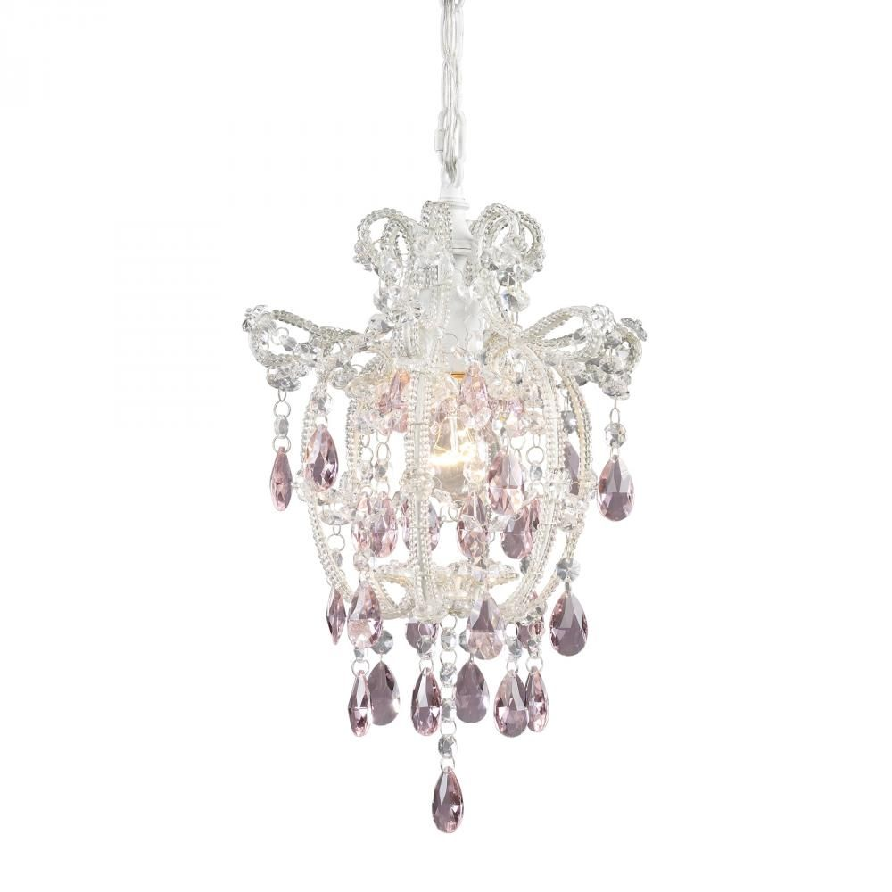 White mini chandelier with pink crystals brought