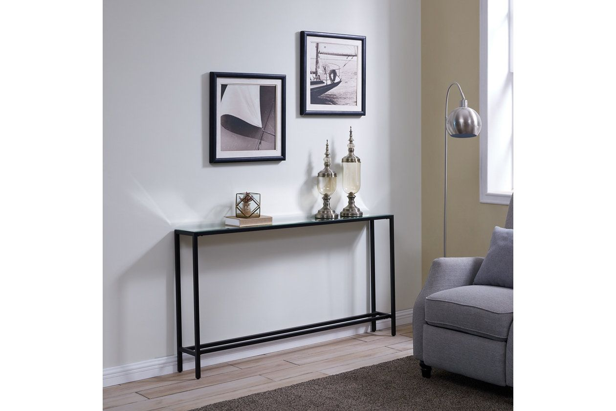 Blucat Narrow Long Console Table With Mirrored Top Gunmetal Gray Ashley Furniture Homestore In 2021 Long Console Table Long Console Mirrored Console Table