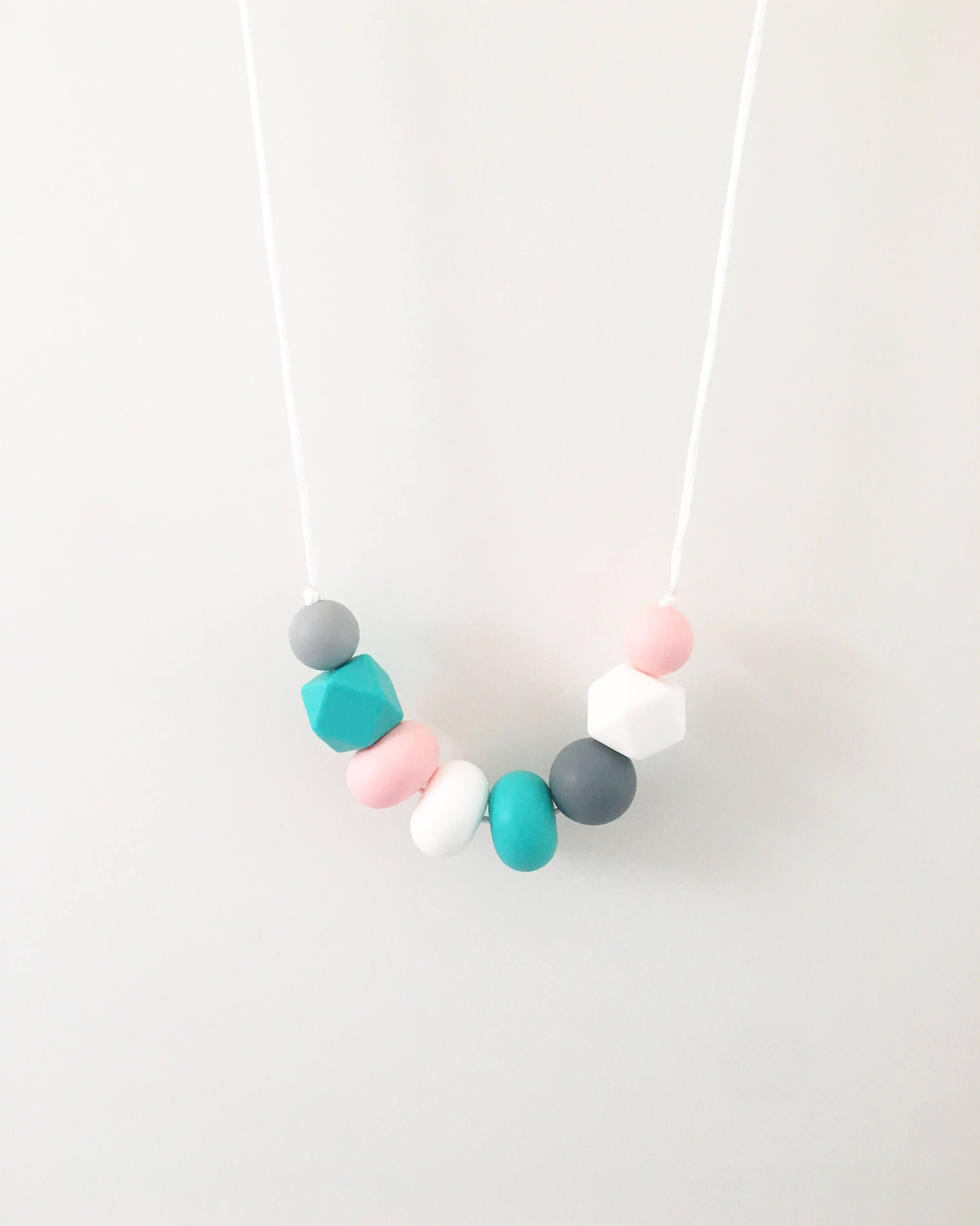 Beautiful Grey Mint Green Silicone Hexagon Shape Beads Baby Teething Necklace