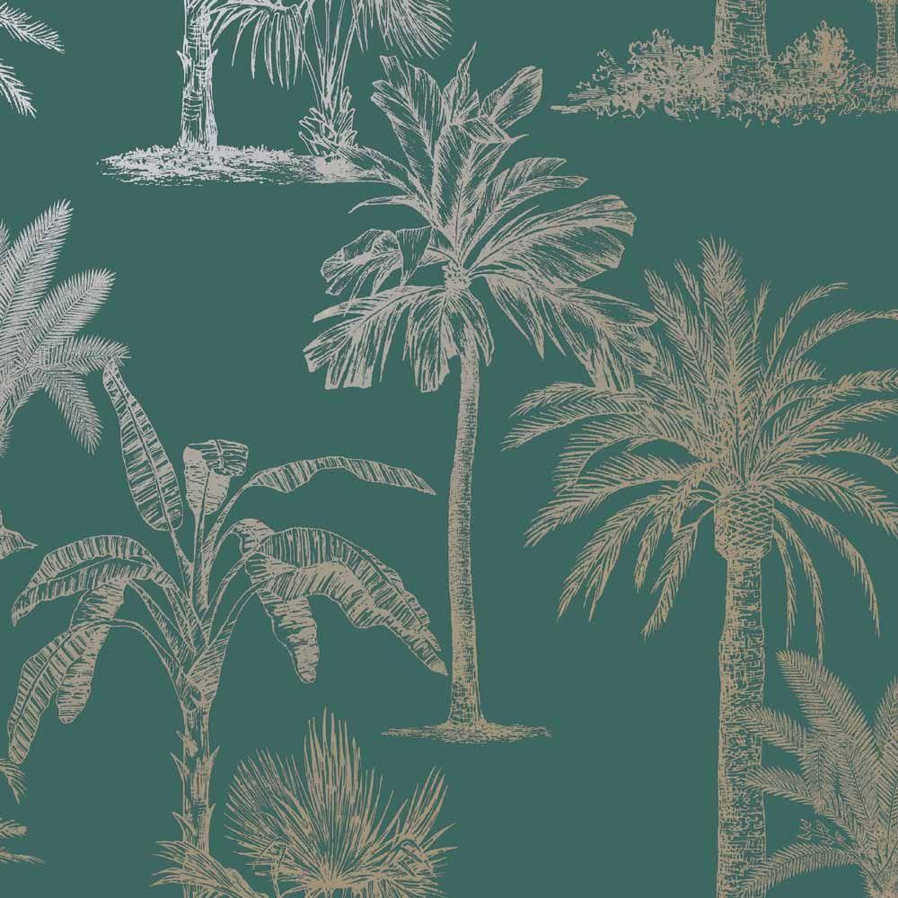 Holden Decor Glistening Tropical Tree Metallic Teal