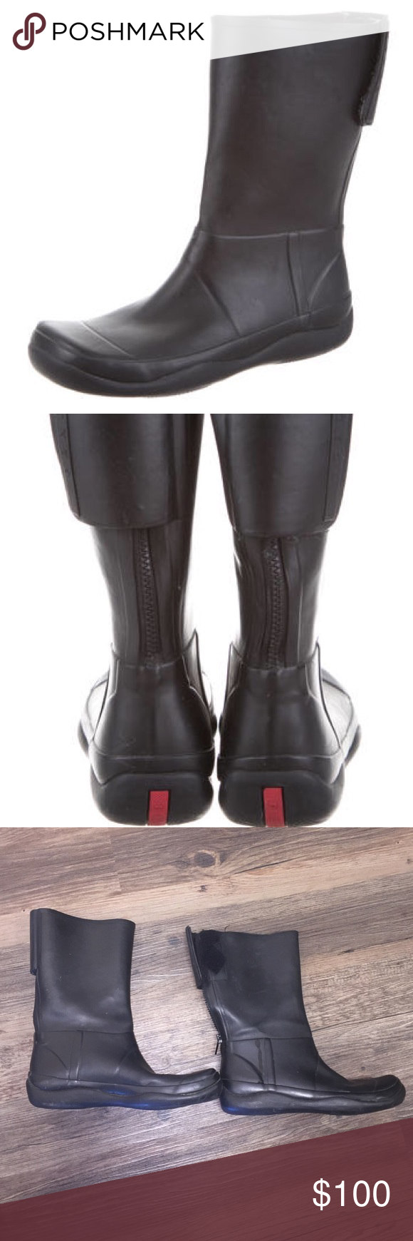 Prada Rubber Boots Size 38/8 US   Boots, Rubber boots, Prada