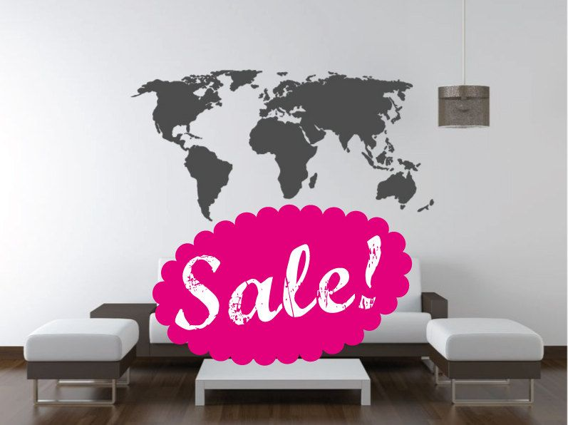 sale. world map decal. wall decal. wall sticker.decoryourwall