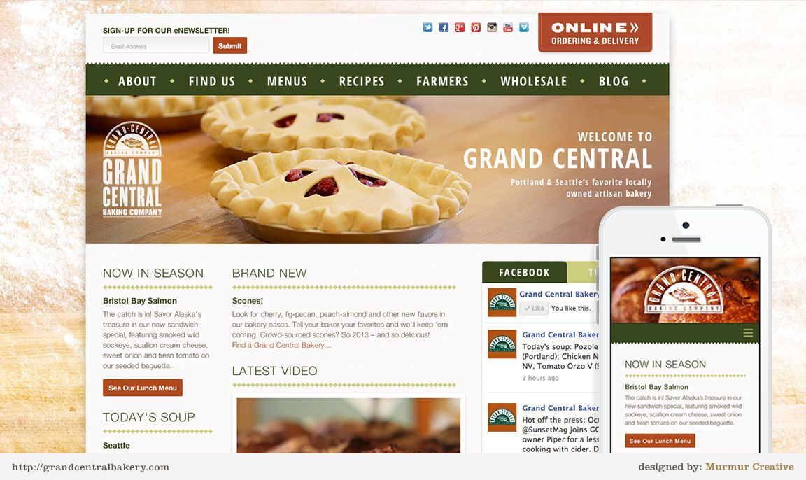 Grand Central - Bakery Web Design by Murmur Creative | Murmur ...