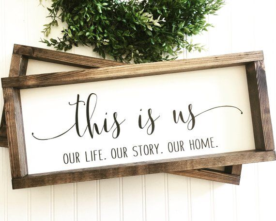 This is us Sign | Our life Our Story Our Home | Personalize | Rustic Farmhouse Wood Framed Wall Decor | Housewarming Wedding Gift