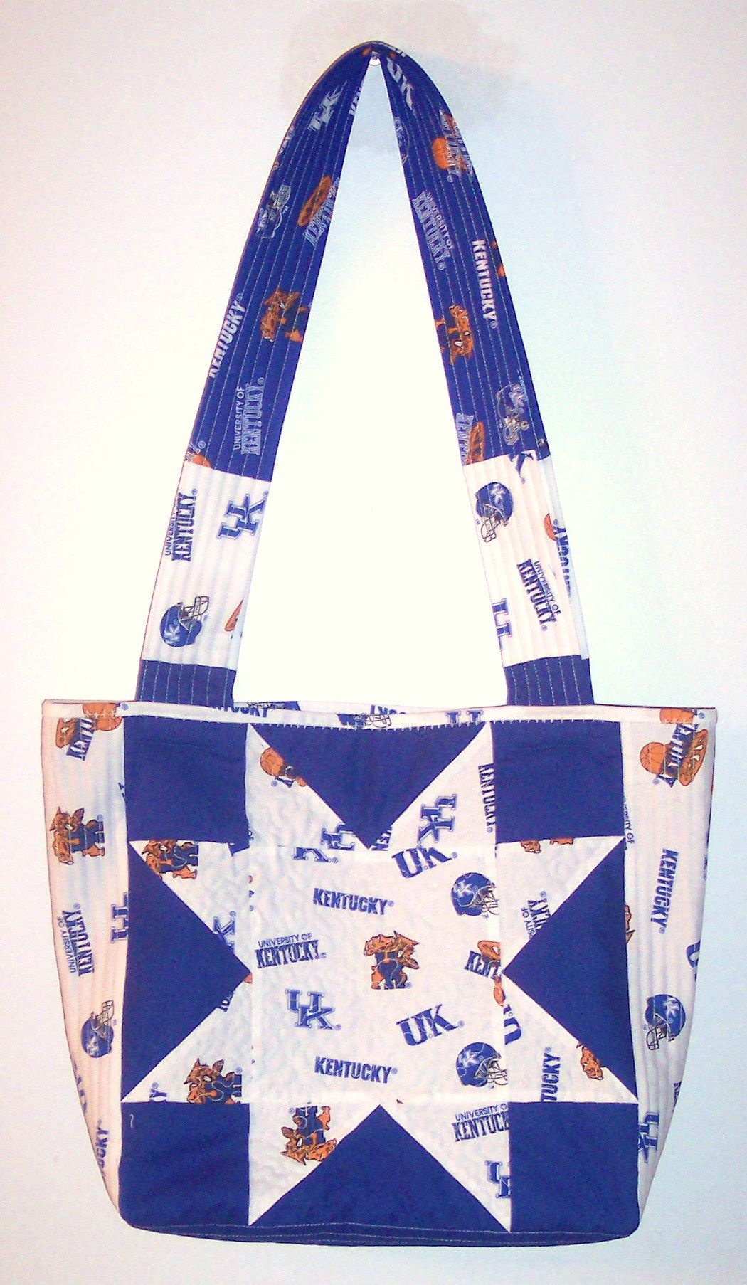 University Of Kentucky Sawtooth Star 12 Quilt Block Tote Bag Uk Made By Lee Mccoy