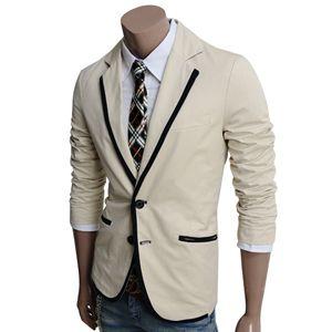 ef11a6487c71c Mens Casual 2 Button Blazer Jacket (LJ03-BEIGE)