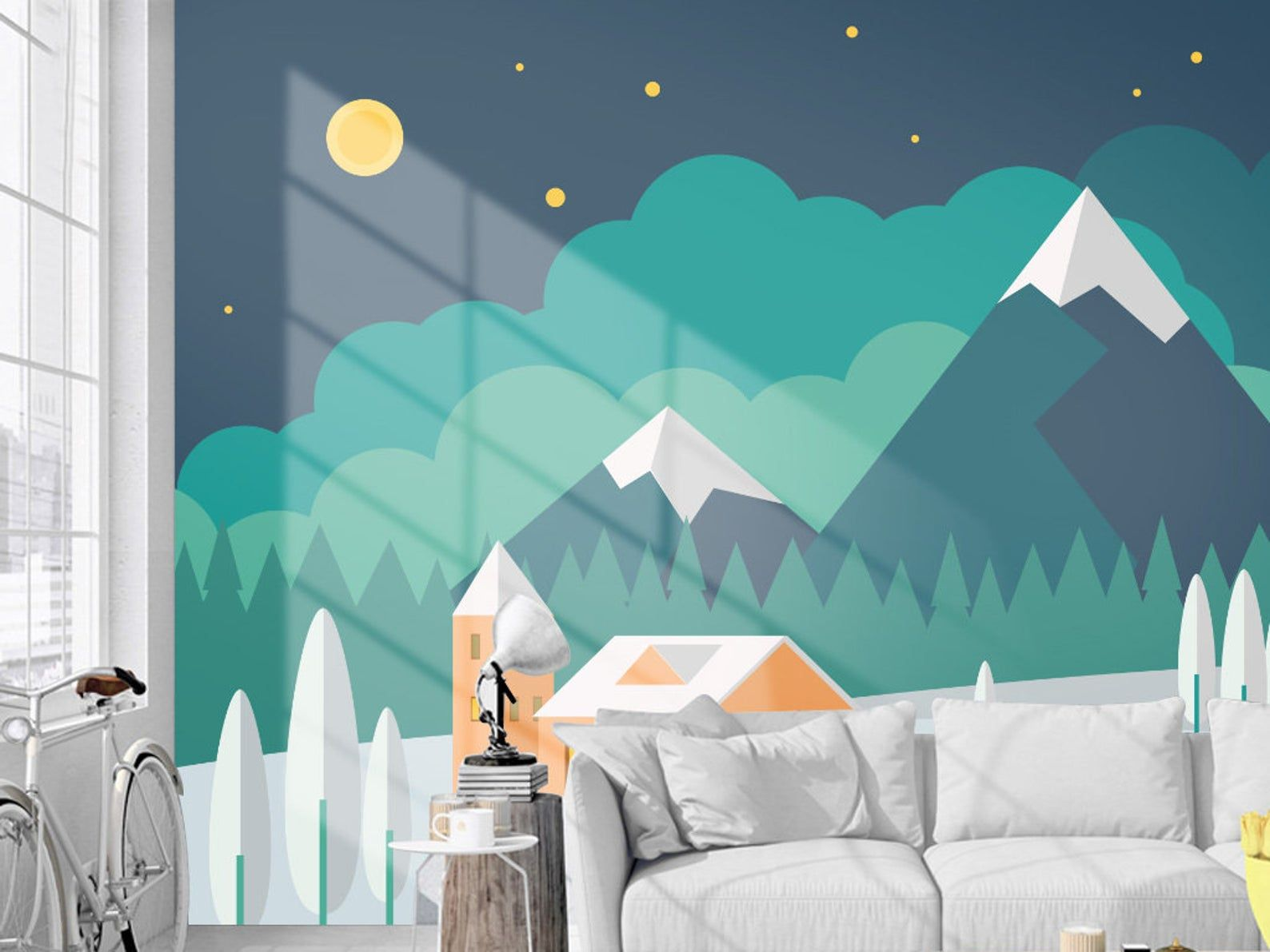 Hand Painted Geometric Green Mountains Wallpaper Wall