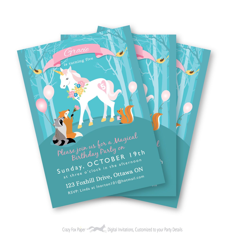 Unicorn Birthday Invitation Printable Customized EVITE DIY