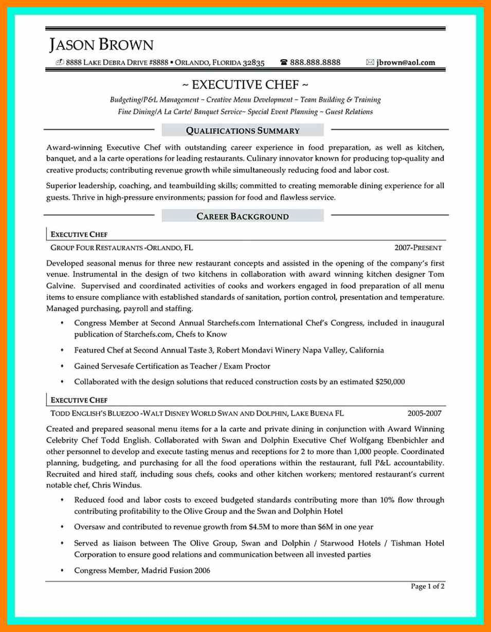 Executive Chef Resume Oil Rig Chef Sample Resume Cover Letter Career Fair Certificate