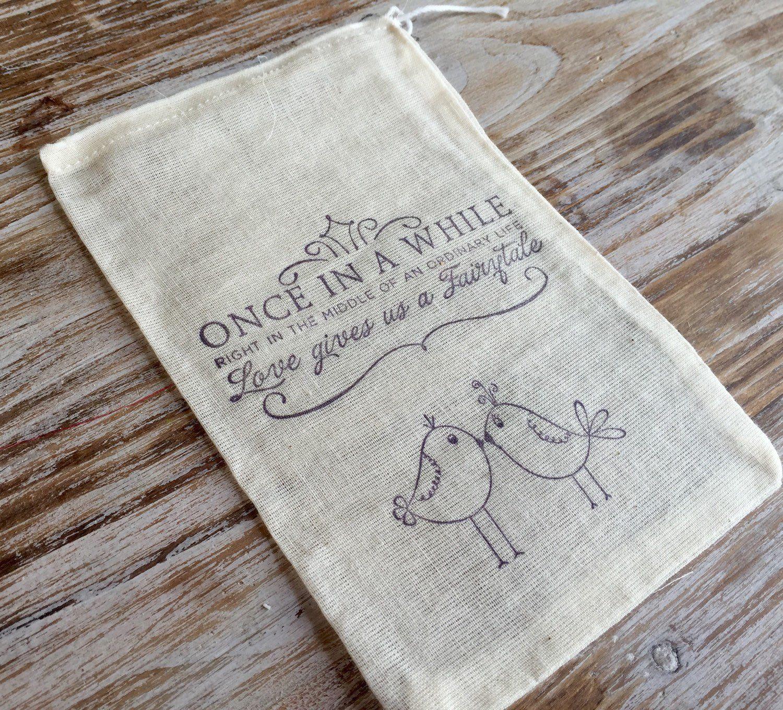 10 cotton wedding favor bags, romantic wedding favors, love birds ...