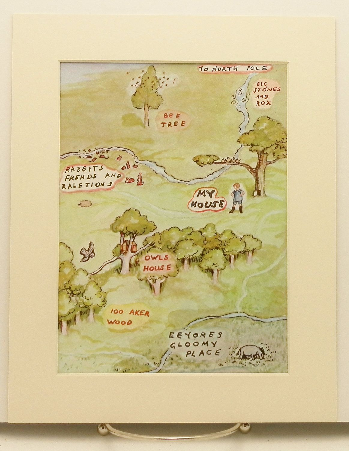 A Map to Christopher Robins House Print w/Mat, Vintage & Classic ...