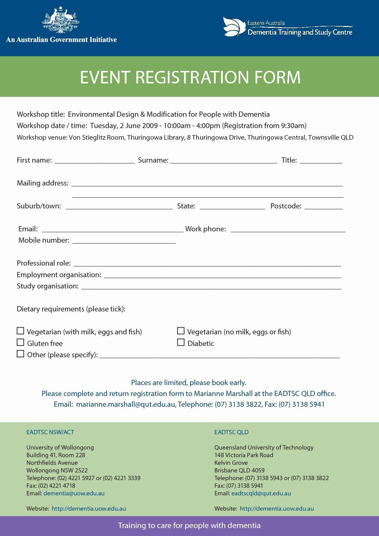 Template for Registration form in 2020 Registration form