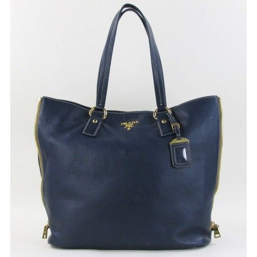 Prada Navy Pebbled Leather Side Zipper Tote Bag only $799 @ Mosh Posh #moshposh