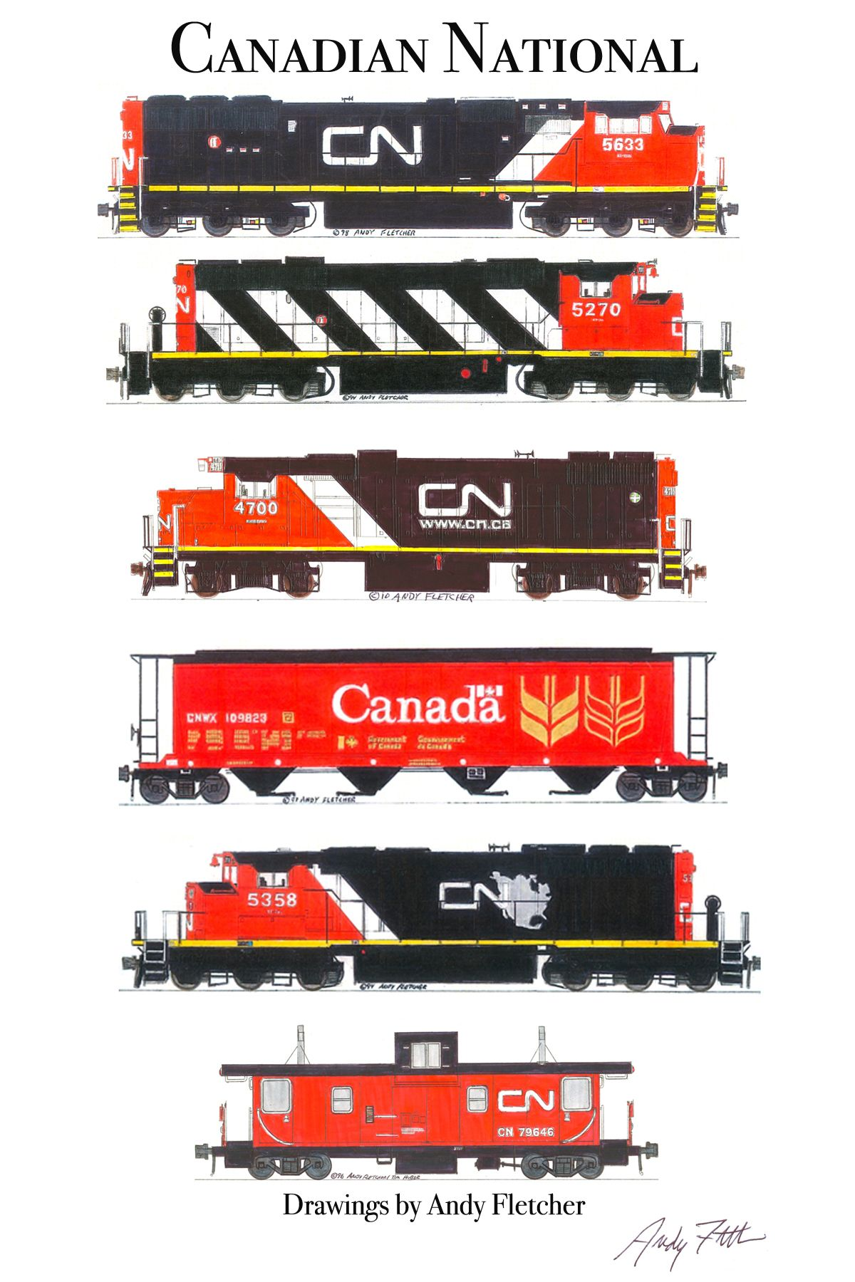 6 Hand Drawn Canadian National Drawings By Andy Fletcher Trains