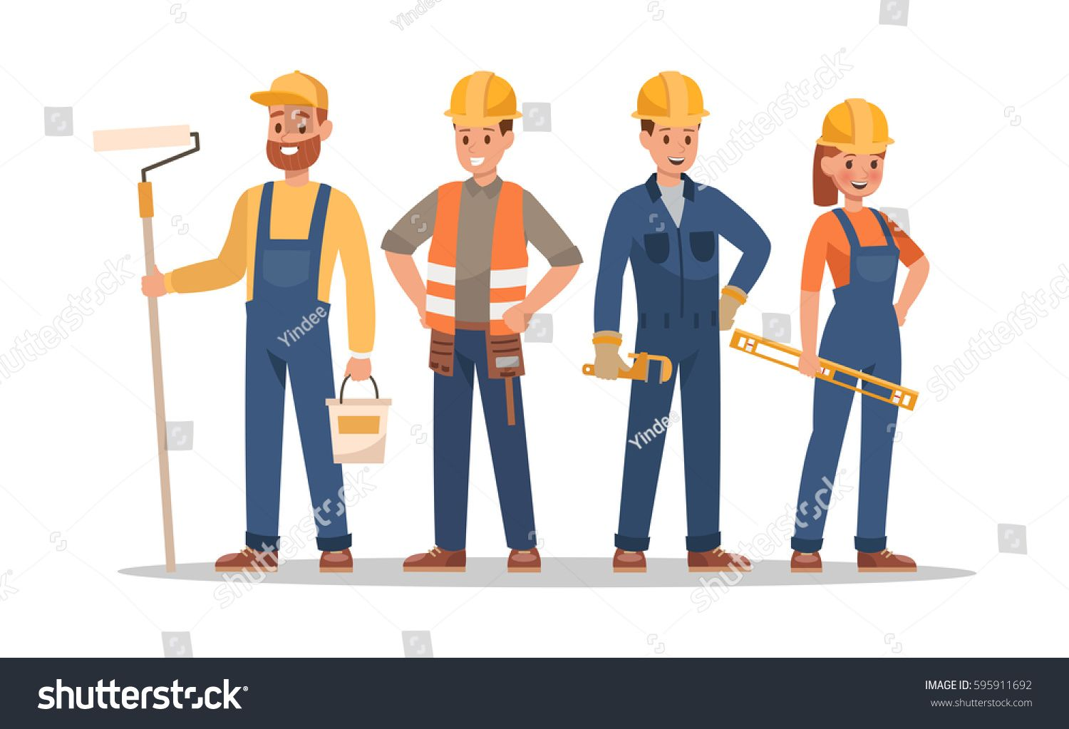 Construction staff characters design. Include foreman
