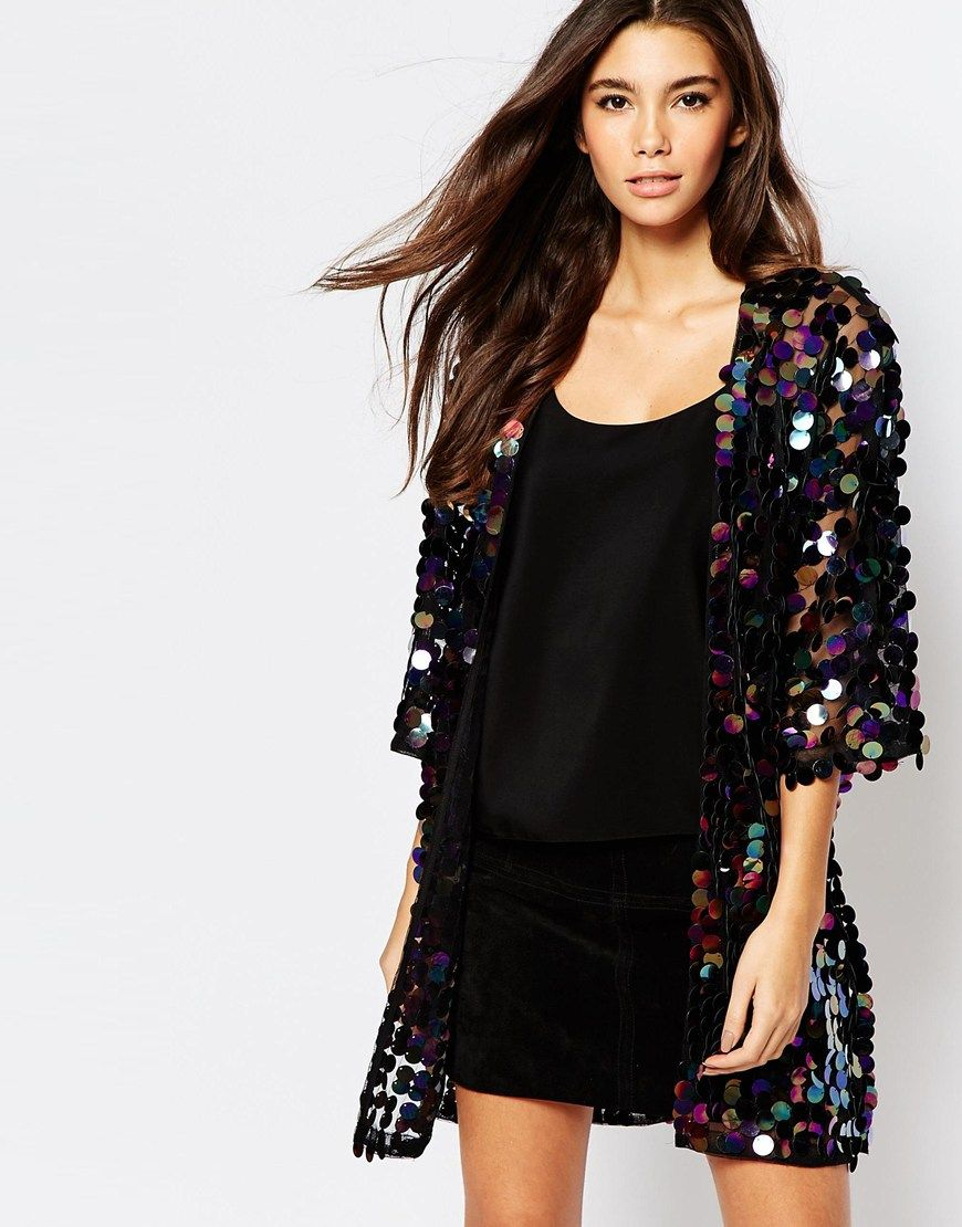 Image 1 of Oh My Love Iridescent Sequin Kimono Jacket | warmers ...