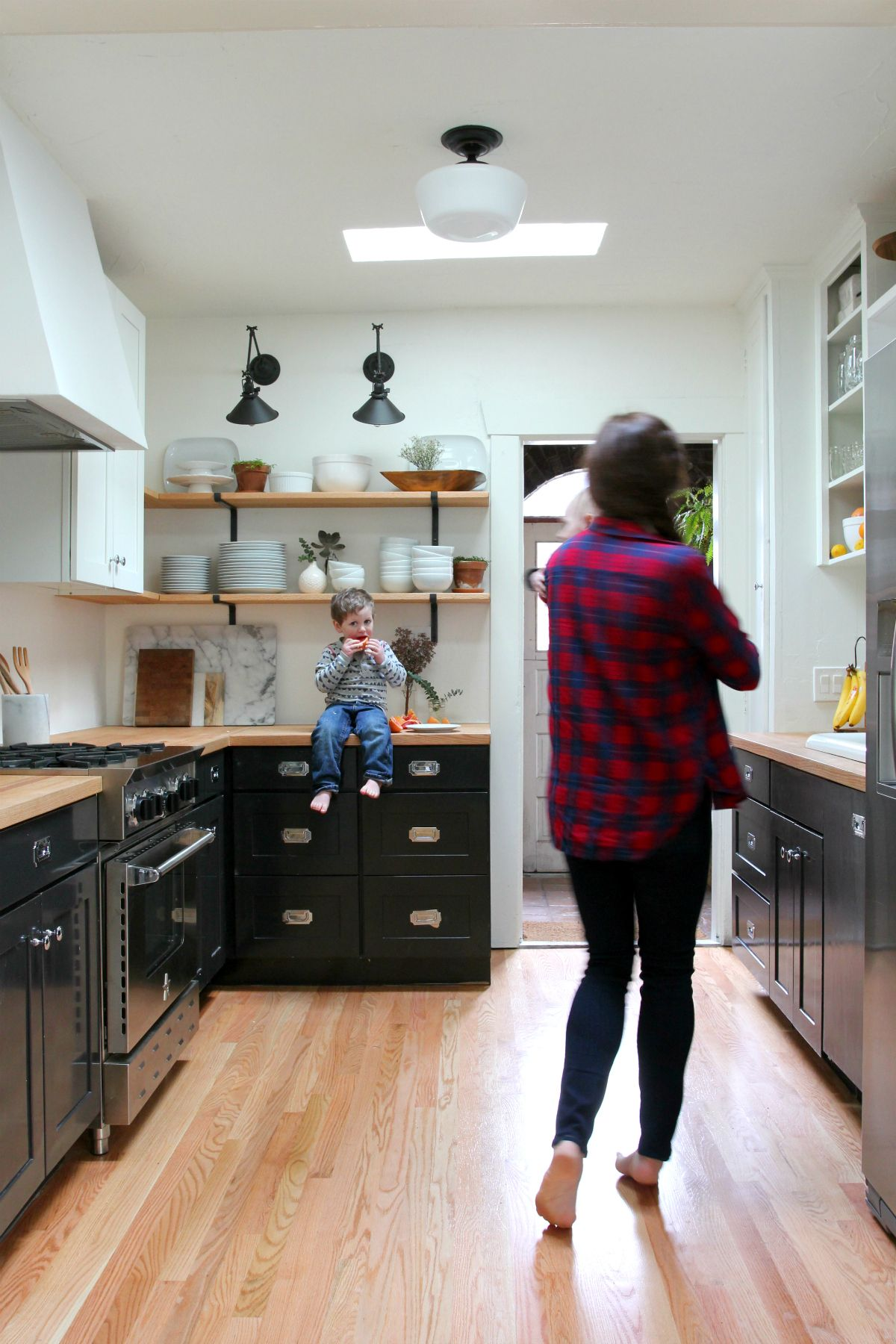 Tuxedo kitchen remodel with open shelves  The Grit and