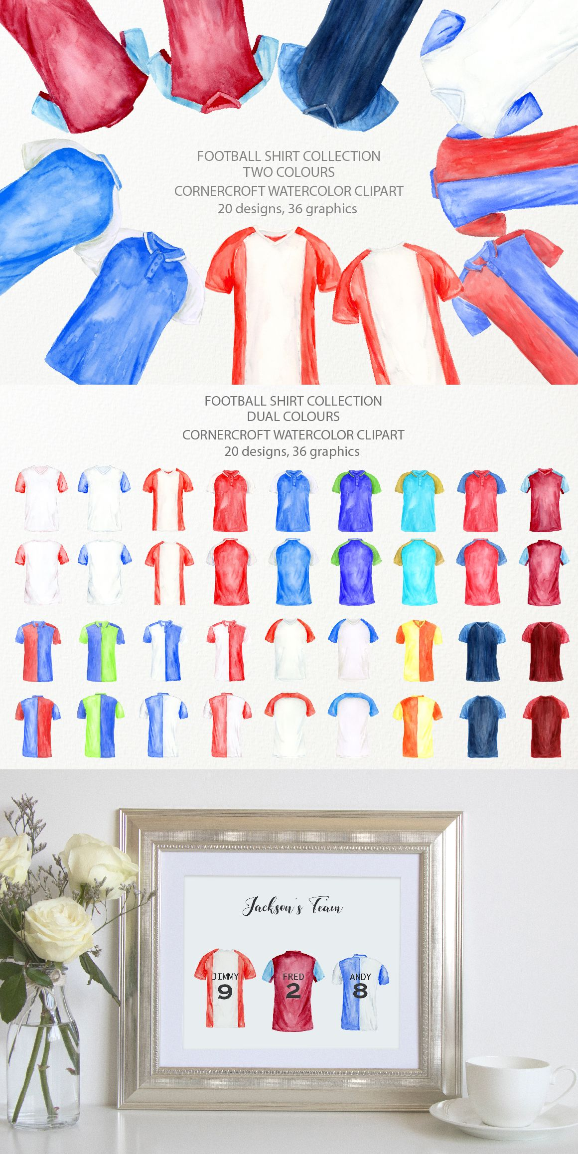 Watercolor Football Shirts In Two Colors Soccer Shirt