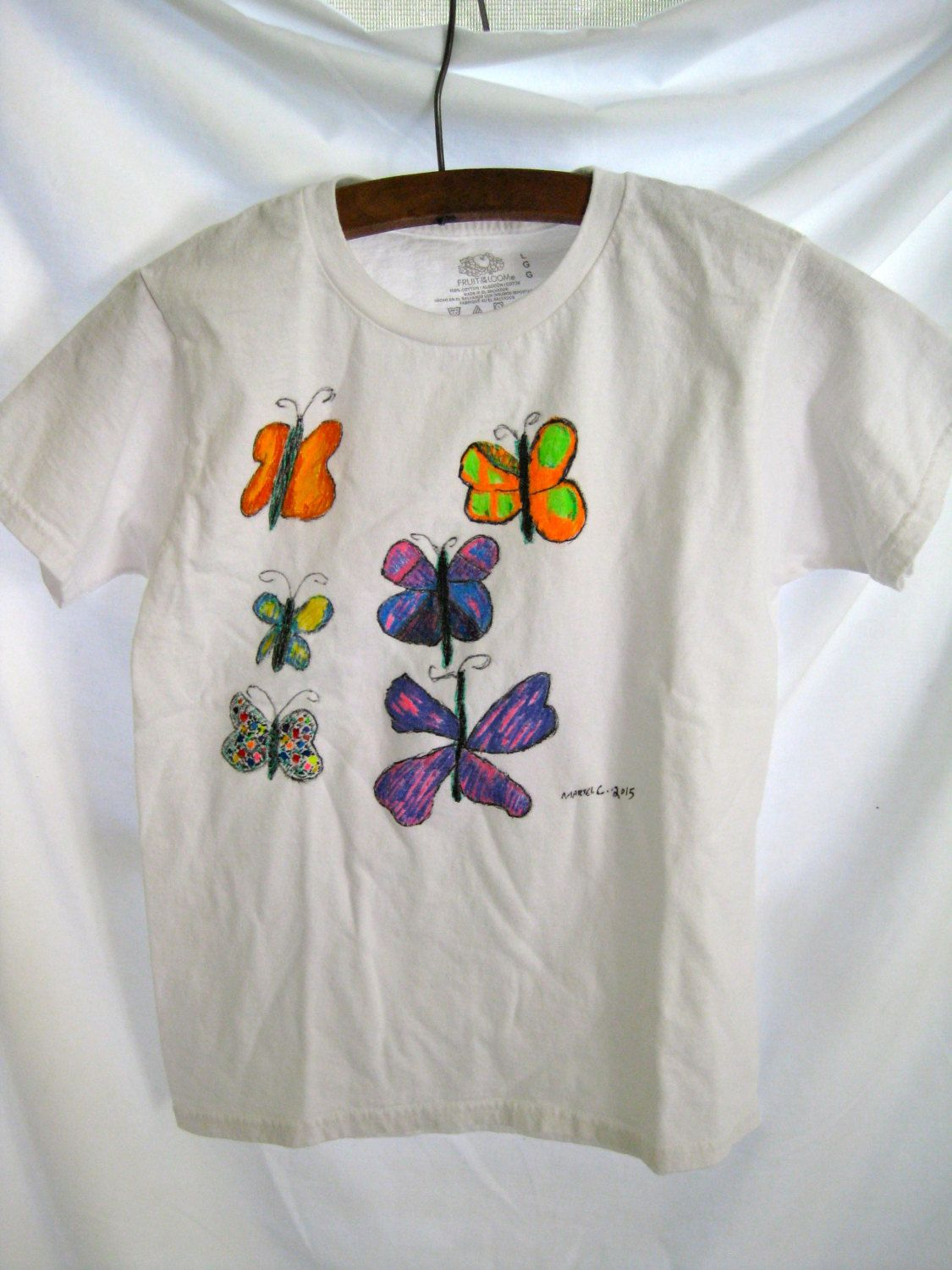 child u0027s original art butterfly t shirt hand painted whimsical