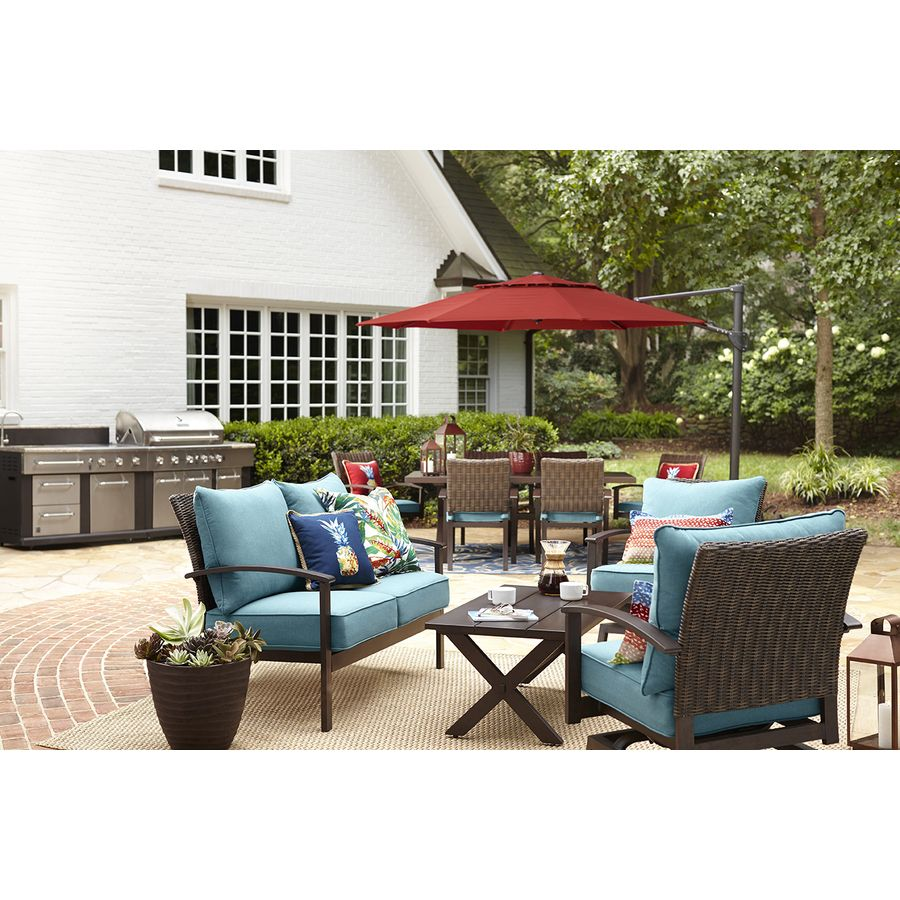 Allen Roth Atworth 2 Piece Frame Patio Conversation Set With