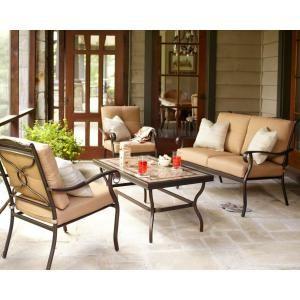 Hampton Bay Westbury 4 Piece Patio Deep Seating Set With Tan Cushions