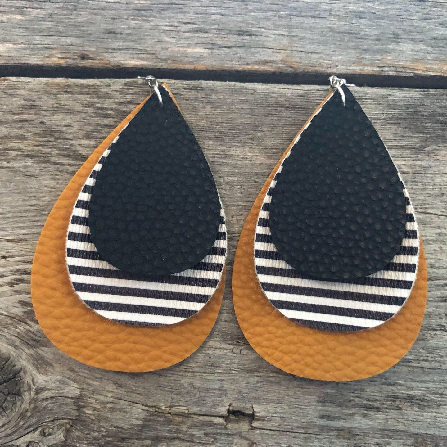 Photo of Gorgeous Mustard and Striped Faux Leather Earrings