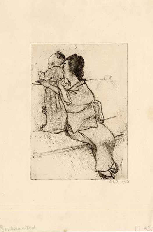 [Japanese Mother and Child on a Bench] Emil Orlik(1902).  일본의 그림에서도 모성애가 담긴 작품을 찾아볼 수 있다. 이 그림에서 엄마는 어린 아이와 함께 담 너머 무언가를 보고 있는데, 아이가 넘어지지 않도록 팔로 아이를 감싸고 있다. 이러한 행동 하나하나에서도 모성애를 느낄 수 있다.