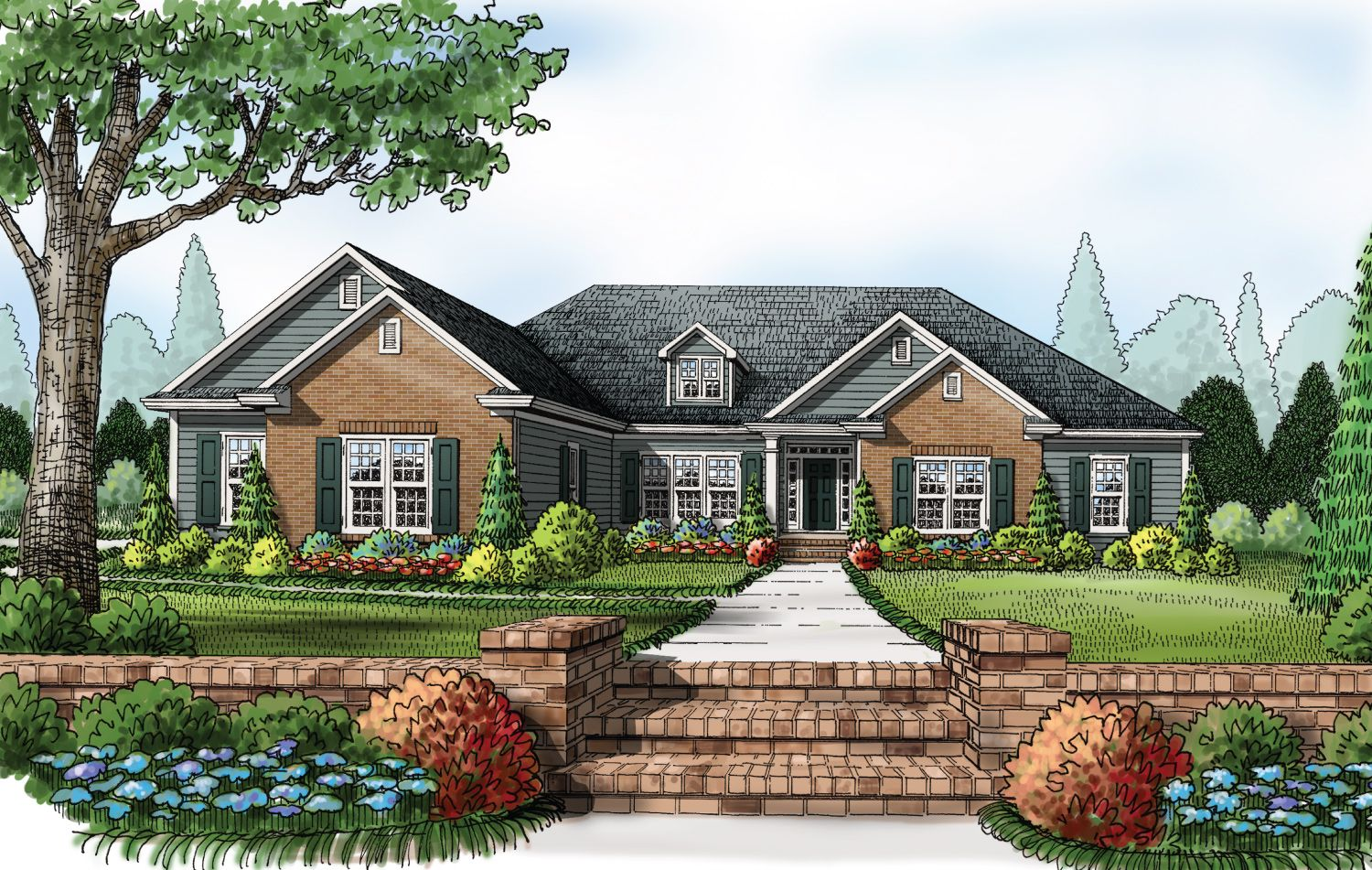 This traditional four bedroom ranch style home with