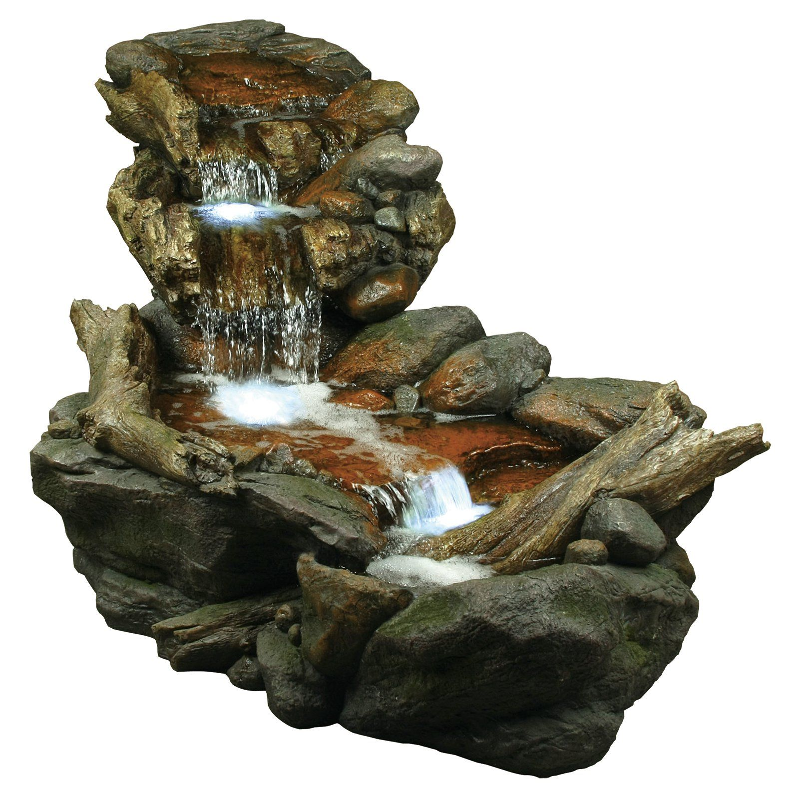 Alpine 3 Tier Rainforest Stream Outdoor Fountain With LED Lights | From  Hayneedle.com